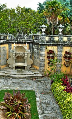 Villa Vizcaya, now the Vizcaya Museum and Gardens, is the former villa and estate of businessman James Deering in Biscayne Bay, Florida.  Go to www.YourTravelVideos.com or just click on photo for home videos and much more on sites like this.