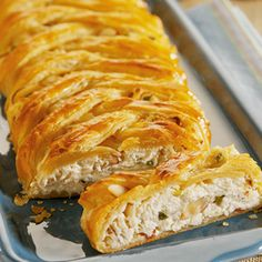CRABMEAT STRUDEL...delectable appetizer featuring a flavorful crabmeat filling surrounded by layers of flaky puff pastry.  It looks impressive, but it's easy to make!