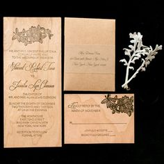 Wood-Print Invitation Suite | Amy Rizzuto Photography | TheKnot.com