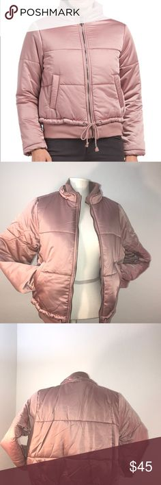 MeJane juniors satin jacket Cute pink bomber jacket!  Product description: -ribbed trim, angled pockets, quilted -hits at hip -mid-weight polyester  -stand color, zip front, tie closure Me Jane Jackets & Coats