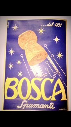 Vintage poster advert | #Bosca #sparkling #wine #ad | popping cork