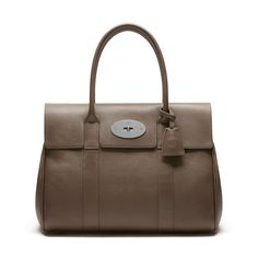 6aa5dd96bbf6 Mulberry - Bayswater in Taupe Small Classic Grain Messi