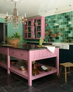 Pink and green – a beautifully colourful kitchen by deVOL – Lea Osterhagen Orange Kitchen, Kitchen Colors, Kitchen Decor, Kitchen Ideas, Pink Kitchen Paint, Colourful Kitchen Tiles, Kitchen Designs, Pink Cabinets, Wall Cupboards