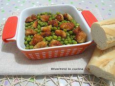 Ricetta petto di pollo e piselli surgelati. Unsecondo piatto semplice e veloceda preparare. Un piatto che vi permetterà di avere secondo e contorno