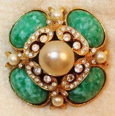 Marvella Faux Apple Jade Green Pearl Rhinestone Domed Brooch Pin
