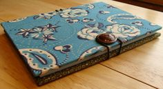 4x6 Accordion Photo Album/ Brag Book/ Scrapbook in Teal Paisley & Olive Green with Button Closure