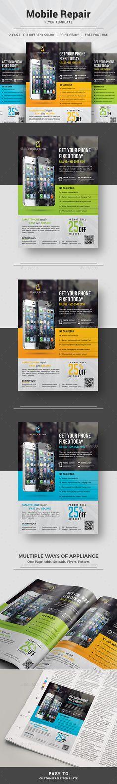 Smartphone Repair Service Flyer   Download https://graphicriver.net/item/smartphone-repair-service-flyer/16193351?ref=themedevisers