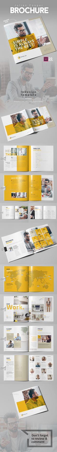 Julian Cooper Brochure  Square — InDesign INDD #marketing #professional • Available here → https://graphicriver.net/item/julian-cooper-brochure-square/18326758?ref=pxcr