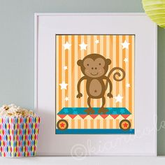 Circus Monkey Print by kianicole on Etsy. Available here: http://www.etsy.com/shop/kianicole
