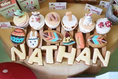 The cupcakes and cookies at this Little Indian Boho 1st birthday party are so cute!! Check out the party! See more party ideas and share yours at CatchMyParty.com