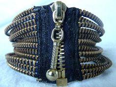 Zipper Bracelet by KariMcMurphy on Etsy. Love the idea of using zipper for bracelet closure! Gotta make me one :) Zipper Bracelet, Closure
