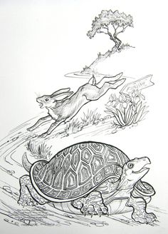 X Pen and Ink drawing of The Race between the Tortoise and the Hare. The Tortoise and the Hare Race Rabbit And Tortoise, Hare & Tortoise, Tortoise Drawing, Tortoise Tattoo, Animal Coloring Pages, Colouring Pages, Kids Coloring, Adult Coloring, Story Drawing