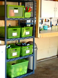 Love the idea of color buckets & plastic drawers to maximize space & brighten up the garage!