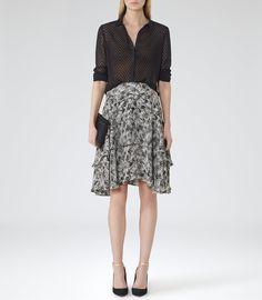 Womens Black/white Tired Ruffle Skirt - Reiss Nova