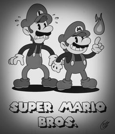 Super Mario Bros. X Cuphead (Black & White)