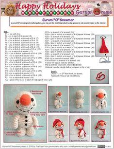 Gratis crochet patrón amigurumi muñeco de nieve por gurumiorama