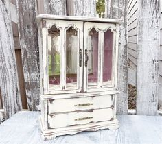 Large White Shabby Chic Jewelry Box / Armoire Cabinet Case
