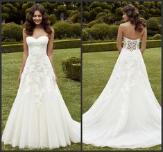 Simply A Line Wedding Dresses Strapless Sweetheart Neckline Lace Applique 2016 Enzoani Ipswich Sweep Train LA Garden Wedding Bridal Gowns