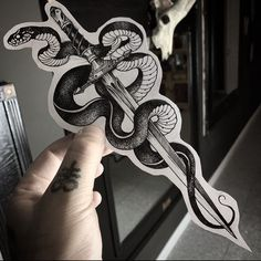Snake and dagger for tomorrow for ! - Snake and dagger for tomorrow for ! Dope Tattoos, Leg Tattoos, Black Tattoos, Body Art Tattoos, Small Tattoos, Tattoos For Guys, Tatoos, Snake And Dagger Tattoo, Snake Tattoo