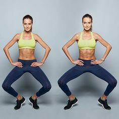 Elevação de calcanhares Em pé, calcanhares quase encostados, pés virados para fora, costas retas e mãos nos quadris. Eleve os calcanhares, ficando na ponta dos pés, e equilibre-se assim durante todo o movimento. Dê dois passos para a direita e depois dois para a esquerda. Isso equivale a 1 repetição.