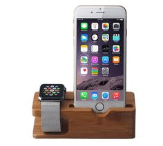 Wooden Apple Watch and iPhone Charging Dock with by LuxFashion1494