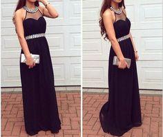 Charming Prom Dress,Chiffon Evening Dress,Sexy Prom Dresses,Black Prom Gown by fancygirldress, $135.00 USD