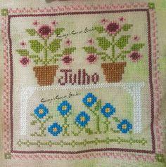 Little House Needleworks Monthly Sampler July Cross Stitch Ponto Cruz