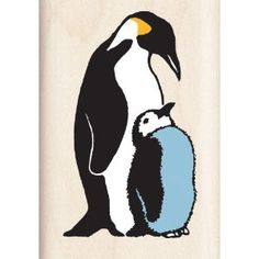 Inkadinkado Mom and Baby Penguin Wood Stamp
