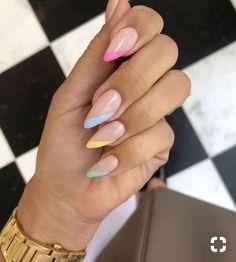 Cute Summer Nail Designs, Cute Summer Nails, Pretty Nail Designs, Colorful Nail Designs, Acrylic Nail Designs, Nail Summer, Summer French Nails, Nails Summer Colors, Almond Nails Designs Summer