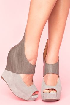 Saturn Cut Out Wedge. I'm so into grey right now. Have 3 pairs of boots...want these now.