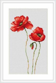 ponto de cruz quadro flores vermelhos