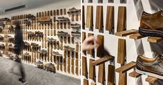 When Zemberek Design were creating the interior of this shoe store in Istanbul, Turkey, they came up with a creative idea for the shelving.