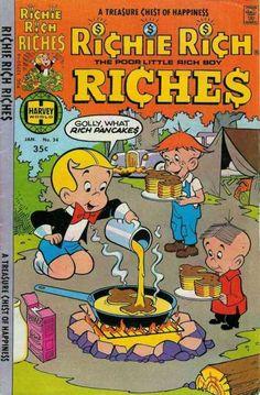 Richie Rich Riches comic book #34. Richie making pancakes