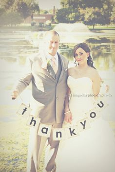Thank You Banner made from Recycled Cardboard, Wedding Bride and Groom Thank You Card Black and White Personalized Picture Prop Bunting