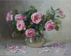 Roses In The Glass - oil, canvas - Stutz Ekaterina