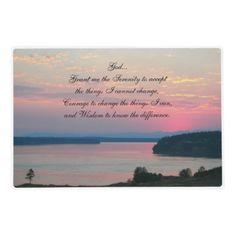 Serenity Prayer Pink Seascape Laminated Place Mat #tableware #prayers #faith #religion