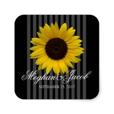 Black Stripes and Sunflower Square Sticker Black two tone stripes with bright yellow garden sunflower, printed design sticker with couple's name and date, perfect for party favors or other personalized gifts. #wedding #favo...