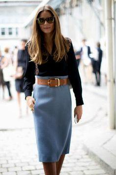 Power blue #70s pencil midi skirt #doesntgetold
