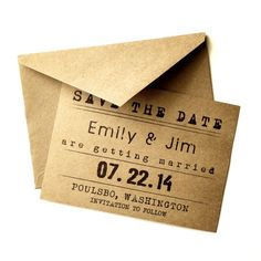 Rustic Save the Date card  Save the date  Handmade  by AnnsPaperie, $1.80