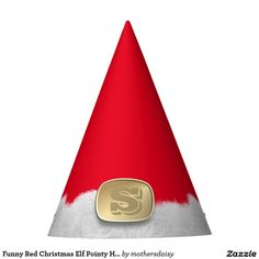 Funny Red Christmas Elf Pointy Hat | Gold Monogram