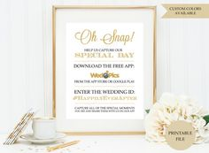 Wedpics sign PRINTABLE FILE  Wedpics app sign  by PeachPuffDesigns