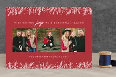 """""""Introducing with Joy"""" - Photo Collage Holiday Photo Cards in Cranberry by Bethan."""