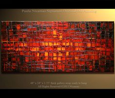 "48"" x 24"" Large Oil Painting Original Abstract Modern Art  Red Ready to Hang Frame Fine Original Art from Paula Nizamas"