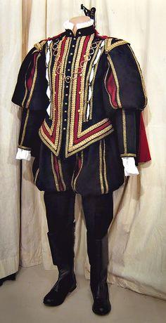 Mens, Thomas Culpepper, Tudor style poof sliced sleeves, navy velvet.