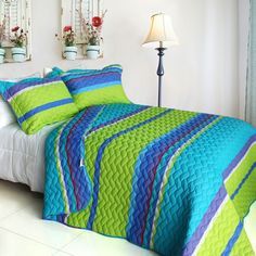 Blancho Bedding Exotic Fantasy Wood Cotton Quilt Set Teen Girls Quilts Modern Bedding - Bedding with stripes has always been a staple in bedding options for men and boys. Now, in modern bedding there is a choice for everyone. #teengirl #bedding #stripes #modern