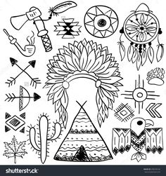 Hand Drawn Doodle Vector Native American Symbols Set Stock Vector - Illustration of feather, dream: 57727166 Native American Patterns, Native American Symbols, Native American Design, Native American Indians, Native American Drawing, Doodle Sketch, Doodle Art, Desenhos Old School, Native American Headdress