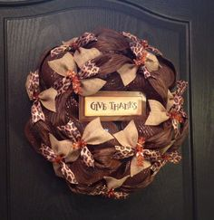 Bronze and Brown Deco Mesh Thanksgiving Wreath