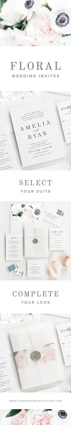 Gorgeous floral invites for your upscale wedding. Modern Wedding Invitations, Elegant Invitations, Wedding Invitation Suite, Floral Invitation, Invitation Design, Wedding Stationery, Wedding Planner, Invitation Ideas, Wedding Tips