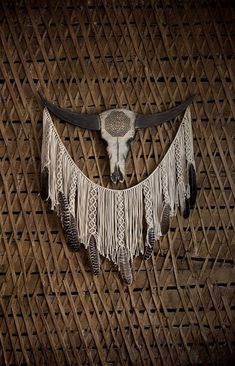 Large macrame wall hanging, Western, Cow skull, Macrame, Large wall art, Boho decor, Bohemian, Livin