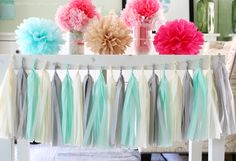 Mint Green, Grey, Cream, Tissue Paper Tassel Garland- Wedding, Birthday, Bridal Shower, Baby Shower, Party Decorations by FancifulChaos on Etsy https://www.etsy.com/listing/203359954/mint-green-grey-cream-tissue-paper